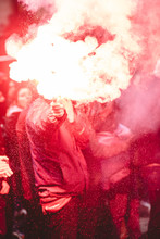 Protesters With A Red Torch And Smoke - 9/12