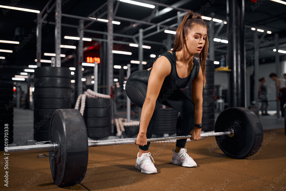 Fototapety, obrazy: Young pretty fitness lady trying to lift heavy barbell from brown floor in modern gym hal, looking away with concentrated face, training hard for competition, indoor shot