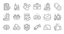 Medical Drugs Line Icons. Heal...