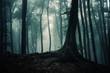 Leinwanddruck Bild tree in dark mysterious fantasy forest