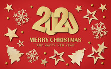 Merry Christmas And Happy New Year 2020 Background With Space For Text