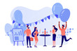 Happy tiny business people dancing, having fun and drinking wine. Corporate party, team building activity, corporate event idea concept. Pinkish coral bluevector isolated illustration