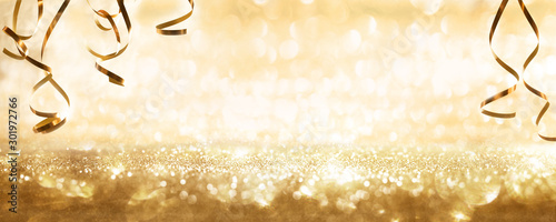 Fotografie, Tablou  Golden sparkling party background