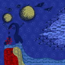 Dreaming Girl Blue Skin Two Mo...