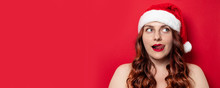 Sexy Girl With Red Santa Hat W...