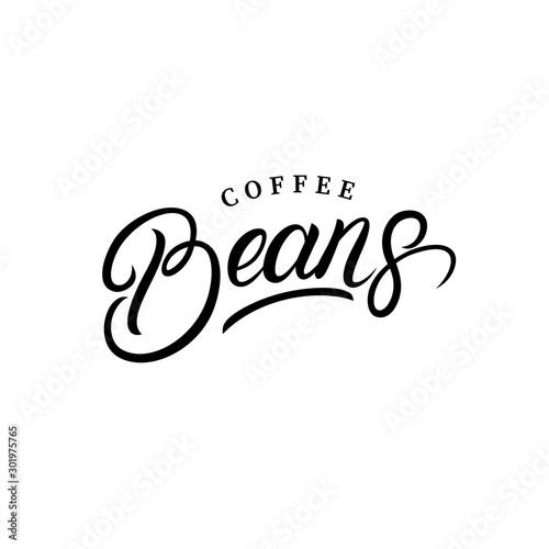 Fotomural  Coffee beans hand written lettering logo