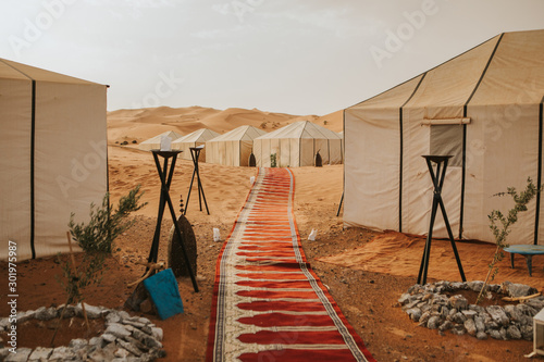 Obraz na plátne Beautiful desert camp and carpet forming a corridor with tents in the background