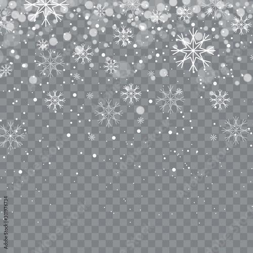 Fototapeta Falling snow isolated on background. Vector illustration obraz na płótnie