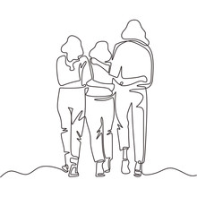 Continuous One Line Drawing Of Three Girls Walking. Young Sisters Group Of Family In Back View Pose. Vector Simplicity Design.