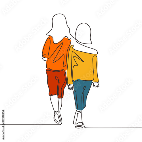 Fotografie, Tablou Continuous one line drawing of two girls walking