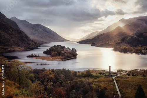 Panoramic view with famous Scottish lake Loch Shiel with Glenfinnan monument and island on sunset, Scotland Wallpaper Mural