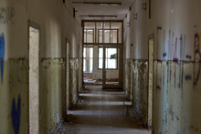 Interior Of An Abandoned Old Building Mental Hospital