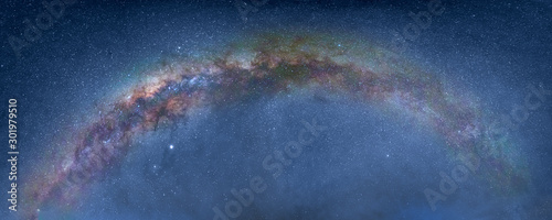 Obraz Beautiful night landscape with Milky way galaxy - Bromo Tengger Semeru National Park , Indonesia - fototapety do salonu