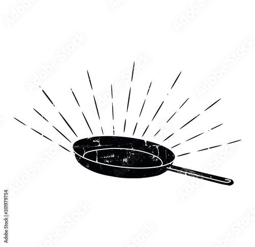 Fotografía  Black Sketched Cast-Iron Frying Pan