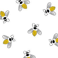 Honey Bee Seamless Pattern Background. Bee Vector. Vector Seamless Pattern With Honey Bee Background. Vector Illustration