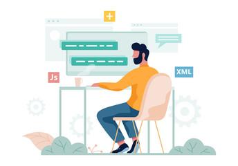 Porgrammer sitting at desk. Web developer workplace. Software programming