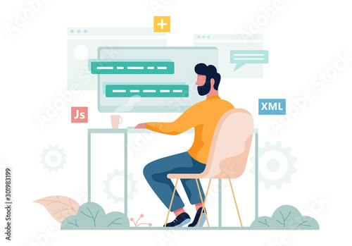 Obraz Porgrammer sitting at desk. Web developer workplace. Software programming - fototapety do salonu