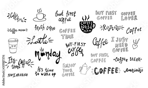 Cuadros en Lienzo Hand lettering illustration about coffee