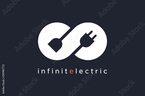 Infinity Electricity Logo isolated on black background Vector Illustration Wallpaper Mural
