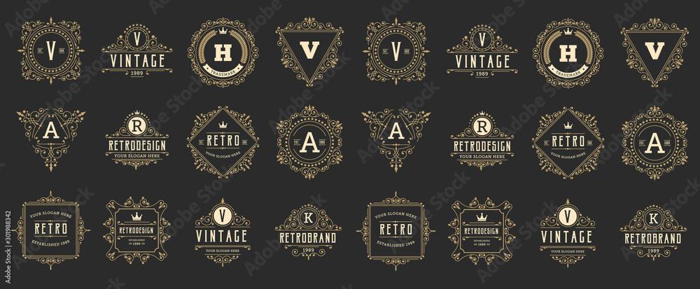 Fototapety, obrazy: Vintage and retro design element set