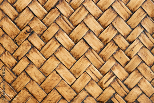 Fotografiet  Closed up of wood weave textured background
