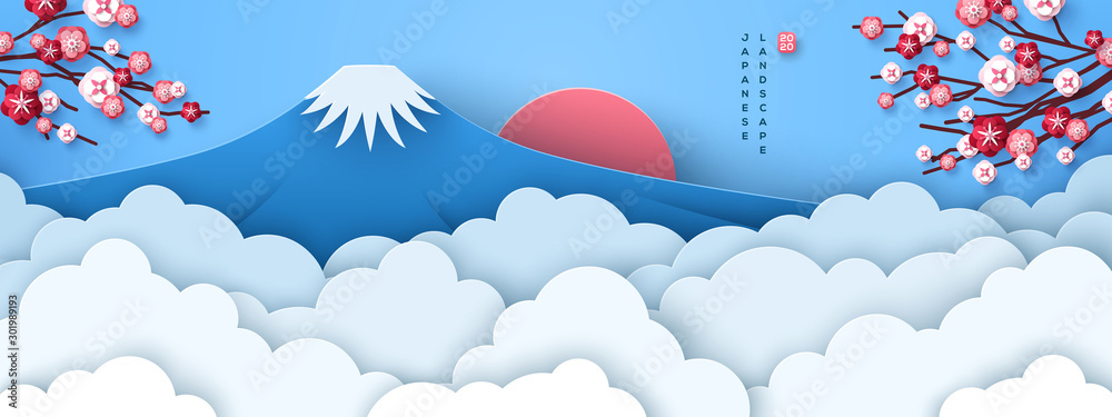 Fototapeta Mount Fuji at dawn. Japanese greeting card or banner with sakura tree branches and paper cut clouds or fog. Happy New Year 2020. Vector illustration.