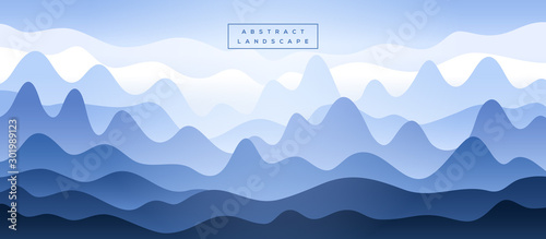 Photo Abstract blue mountains silhouette in the fog