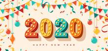 Happy New Year 2020 Card Or Ba...