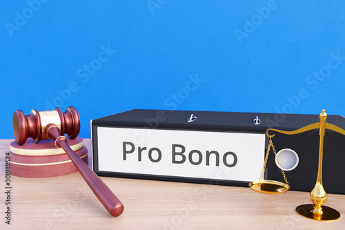 Leinwand Poster Pro Bono – Folder with labeling, gavel and libra – law, judgement, lawyer