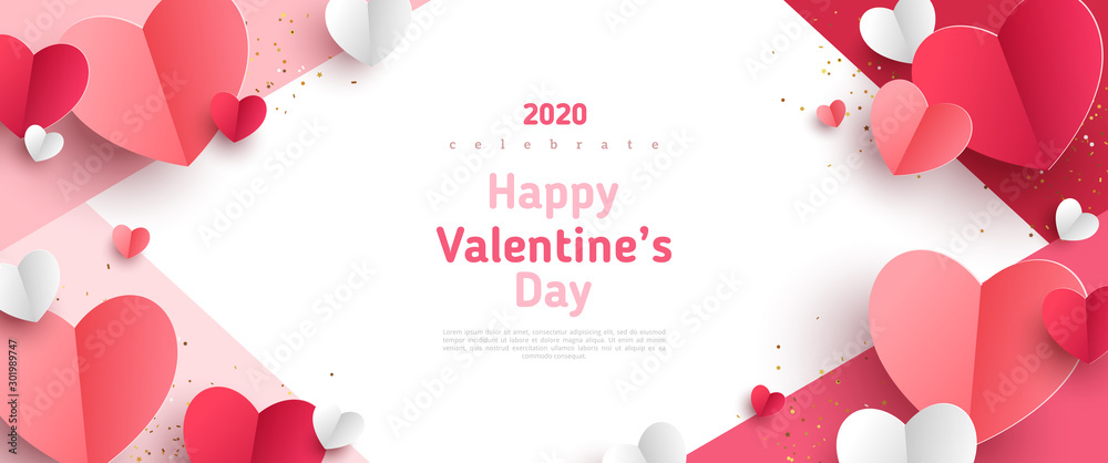 Fototapeta Valentine's day concept frame. Vector illustration. 3d red and pink paper hearts on geometric background. Cute love sale banner or greeting card