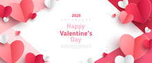 Valentine's Day Concept Frame. Vector Illustration. 3d Red And Pink Paper Hearts On Geometric Background. Cute Love Sale Banner Or Greeting Card