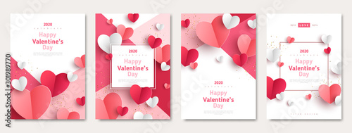 Fototapeta Valentine's day concept posters set. Vector illustration. 3d red and pink paper hearts with frame on geometric background. Cute love sale banners or greeting cards obraz
