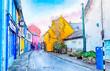 old village Kinsale near Cork, watercolor style