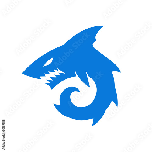 angry Shark monster logo designs symbol Wallpaper Mural