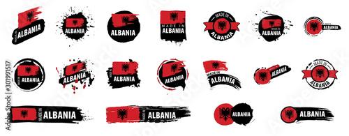 Albania flag, vector illustration on a white background Canvas Print