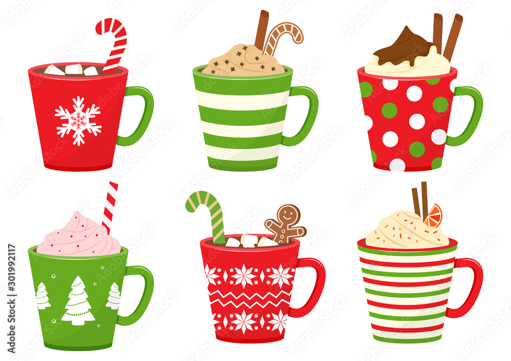 Fototapeta Winter holiday cups with drinks. Mugs with hot chocolate, cocoa or coffee, and cream. Gingerbread man cookie, candy cane, cinnamon sticks, marshmallows. Vector illustration