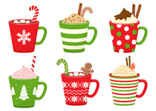 Winter Holiday Cups With Drinks. Mugs With Hot Chocolate, Cocoa Or Coffee, And Cream. Gingerbread Man Cookie, Candy Cane, Cinnamon Sticks, Marshmallows. Vector Illustration