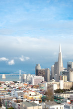 Skyline Of Financial District And North Beach Neighborhood, San Francisco, California, USA