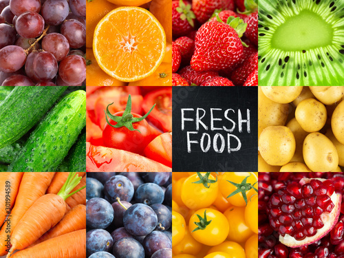 In de dag Keuken Fruits and vegetables. Background of fresh food