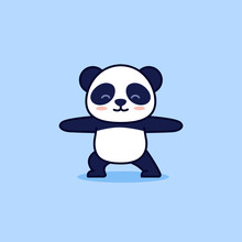 Cute Yoga Panda, Vector Cartoo...
