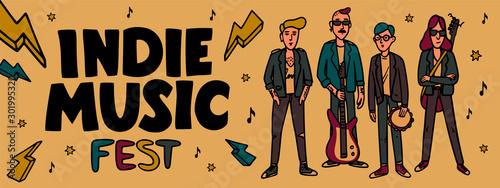 Indie music festival horizontal banner or cover template Fotobehang
