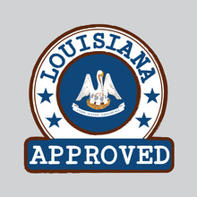 Vector Stamp Of Approved Logo With Louisiana Flag In The Round Shape On The Center. The States Of America. Grunge Rubber Texture Stamp Of Approved From Louisiana.