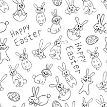 Cute Easter Icon And Animal Pet Collection, With Easter Eggs In Nest, Rabbit And Lettering. Hand Drawn Vector Illustration.