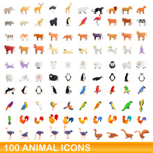 100 Animal Icons Set. Cartoon ...