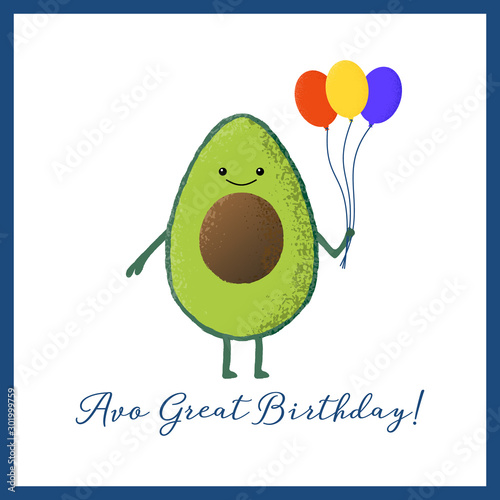 Vector illustration of an isolated cute kawaii avocado character holding a bunch of balloons Wallpaper Mural