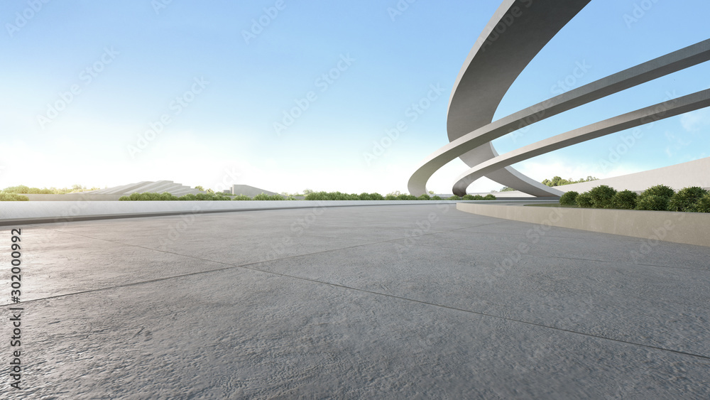 Fototapety, obrazy: Empty concrete floor in city park. 3d rendering of outdoor space and future architecture with blue sky background.