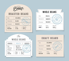 Retro Vintage Coffee Beans Label Set.