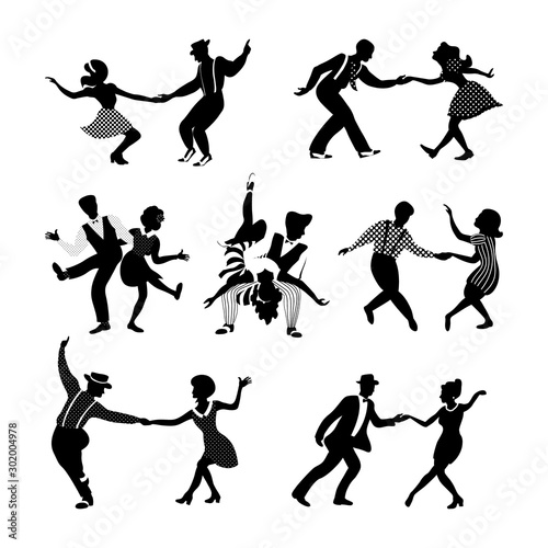 Rock n roll and jazz dancing couples set Canvas Print