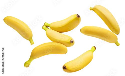 Stampa su Tela Flying delicious ripe bananas, isolated on white background