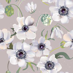 Fototapeta Do pokoju Wedding anemones floral pastel realisitic pattern, soft tender leaf herbs background. Vintage spring greeting perfect for packaging and covers, website cover